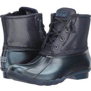 Sperry Blue Metallic Saltwater Duck Boots Leather